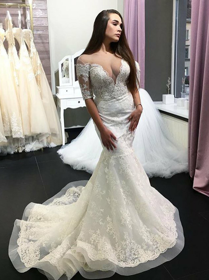 Mermaid Off-the-Shoulder Half Sleeves Lace Wedding Dress with Appliques фото
