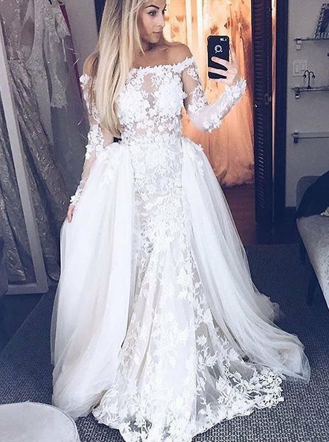 A-Line Off-the-Shoulder Long Sleeves Detachable Train Lace Wedding Dress фото
