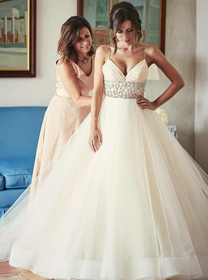 Stunning V-neck Sleeveless Sweep Train Ivory Wedding Dress with Beading Waist фото