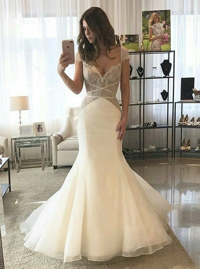 Mermaid Scalloped-Neck Cap Sleeves Sweep Train Tulle Wedding Dress with Lace, White