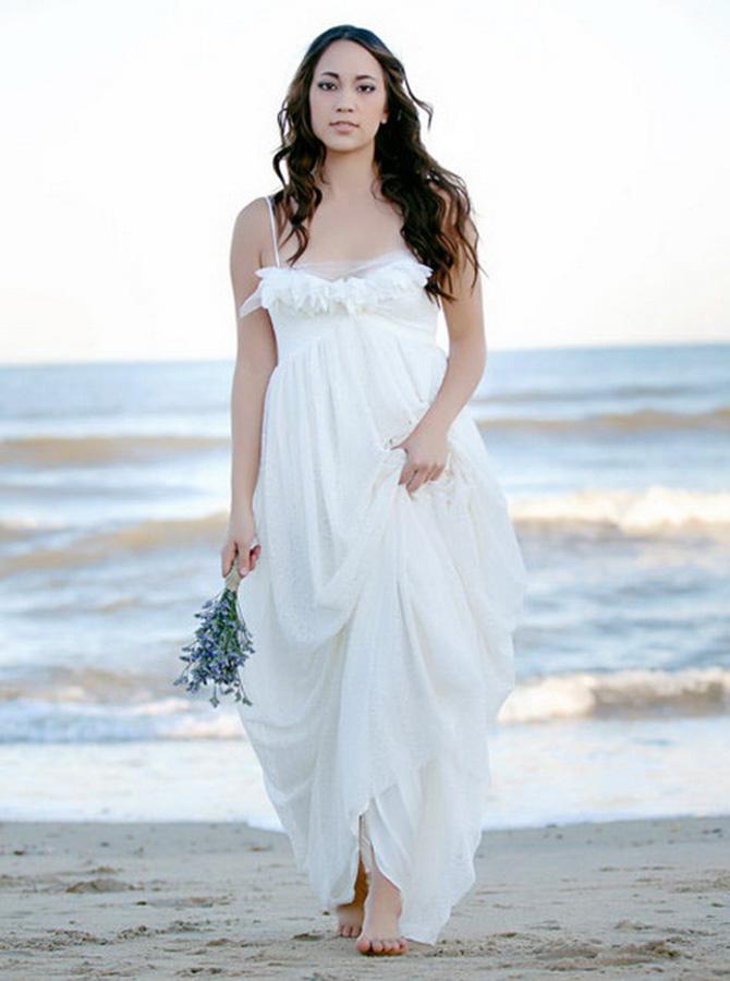 A-Line Spaghetti Straps Chiffon Wedding Dress with Appliques фото