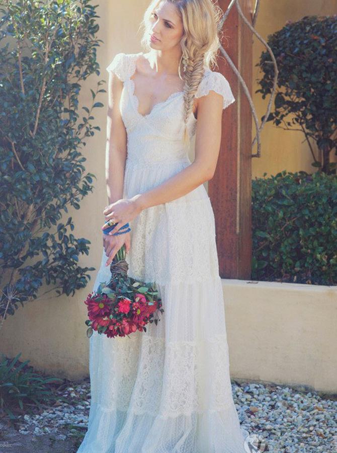 A-Line Scoop Sweep Train Cap Sleeves Lace Beach Wedding Dress фото