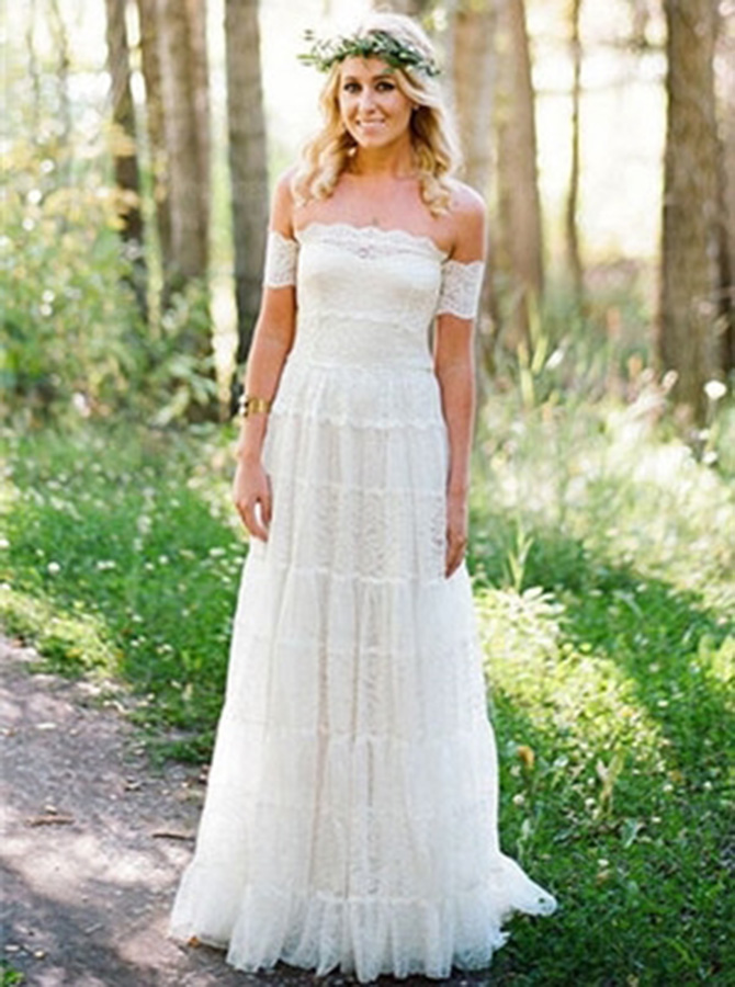 A-Line Strapless Short Sleeves Lace Beach Wedding Dress, White