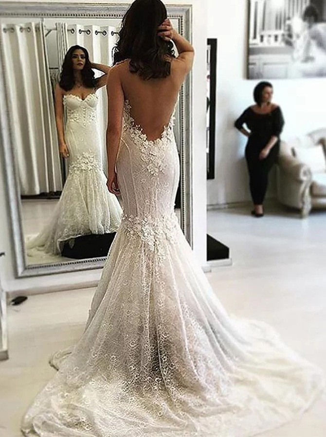 Mermaid Illusion Neck Sweep Train Lace Wedding Dress with Appliques фото