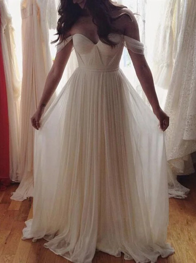 Simple-dress / A-Line Off-the-Shoulder Sweep Train Pleated Chiffon Beach Wedding Dress