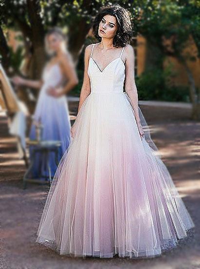 A-Line Spaghetti Straps Blush Dyed Tulle Wedding Dress фото