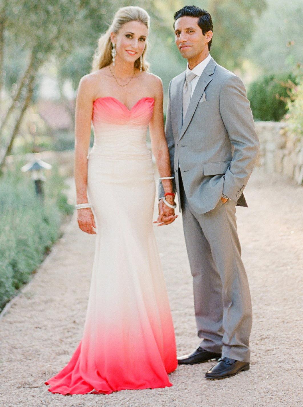 Mermaid Sweetheart Watermelon Red Dyed Chiffon Wedding Dress фото