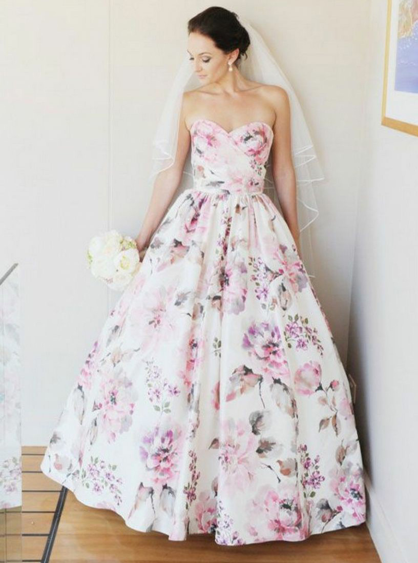 A-Line Sweetheart Floor Length Floral Satin Wedding Dress, Pink