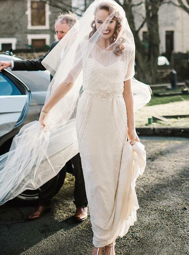 Sheath Round Neck Chiffon Wedding Dress with Beading, Ivory