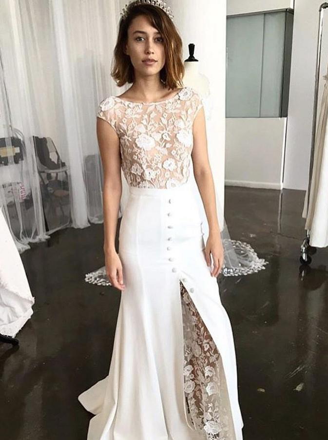 Sheath Round Neck Sweep Train Lace Wedding Dress with Split, White