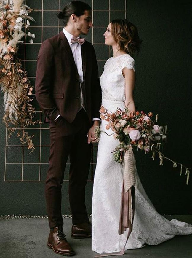 Sheath Bateau Cap Sleeves Sweep Train Lace Wedding Dress, White
