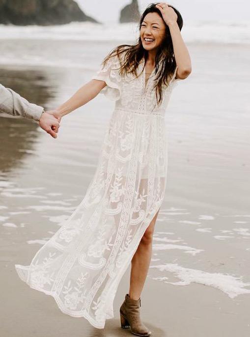 A-Line V-Neck Short Sleeves Boho Lace Beach Wedding Dress with Split, White
