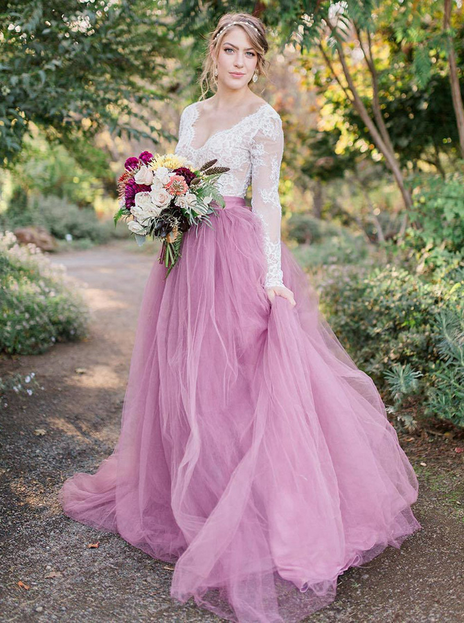 Simple-dress / A-Line V-Neck Long Sleeves Pink Tulle Wedding Dress with Lace Appliques
