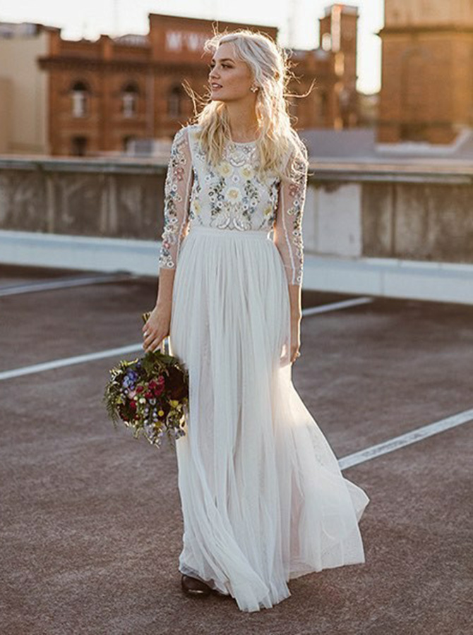 A-Line Round Neck Long Wedding Dress with Lace Long Sleeves фото