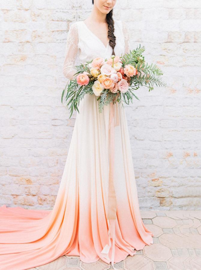Two Piece V-Neck Orange Dyed Chiffon Wedding Dress with Sleeves
