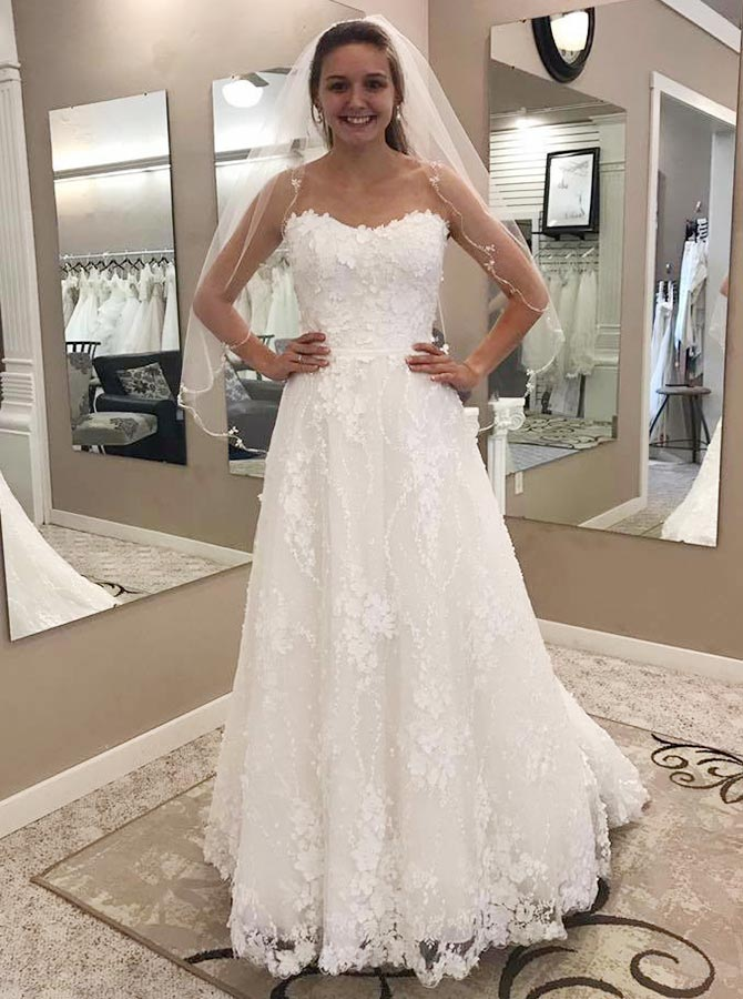 A-Line Strapless Sweep Train Lace Wedding Dress with Appliques, White