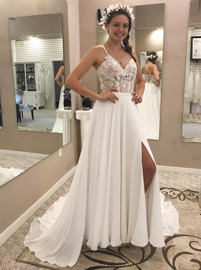 A-Line Spaghetti Straps Chiffon Wedding Dress with Lace Split фото