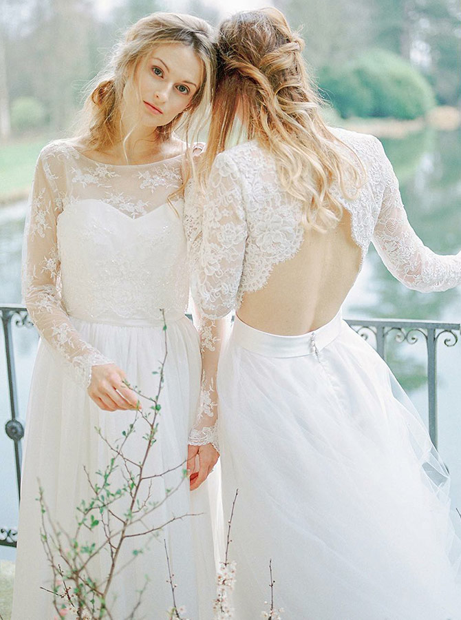 A-Line Round Neck Open Back Tulle wedding Dress with Lace Sleeves, White