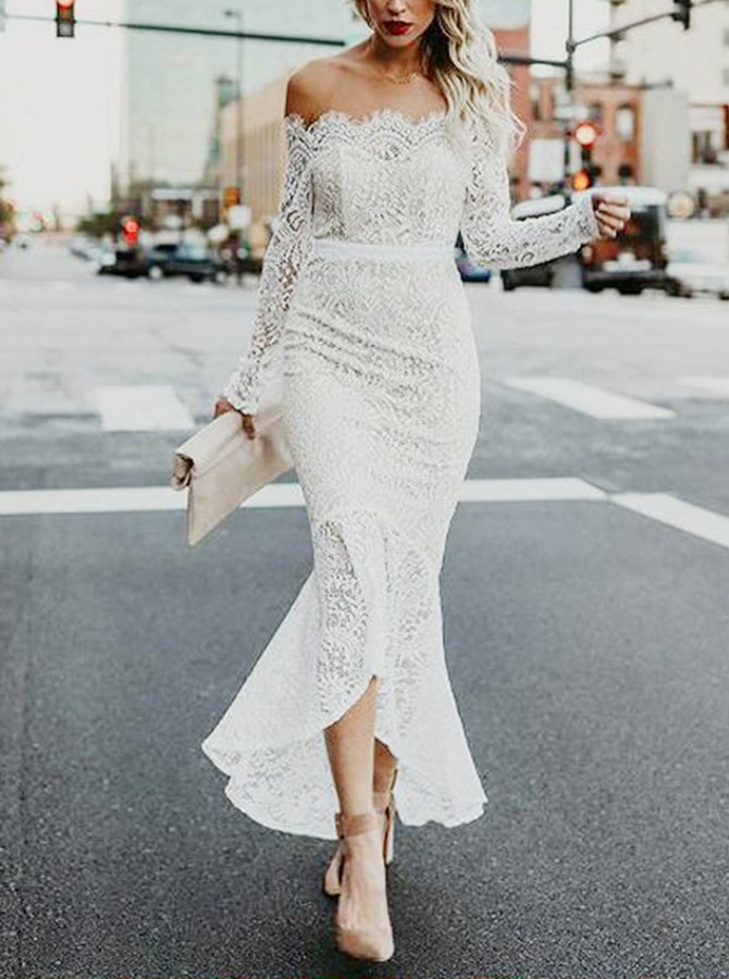 Mermaid Off-the-Shoulder High Low Lace Wedding Dress with Long Sleeves фото