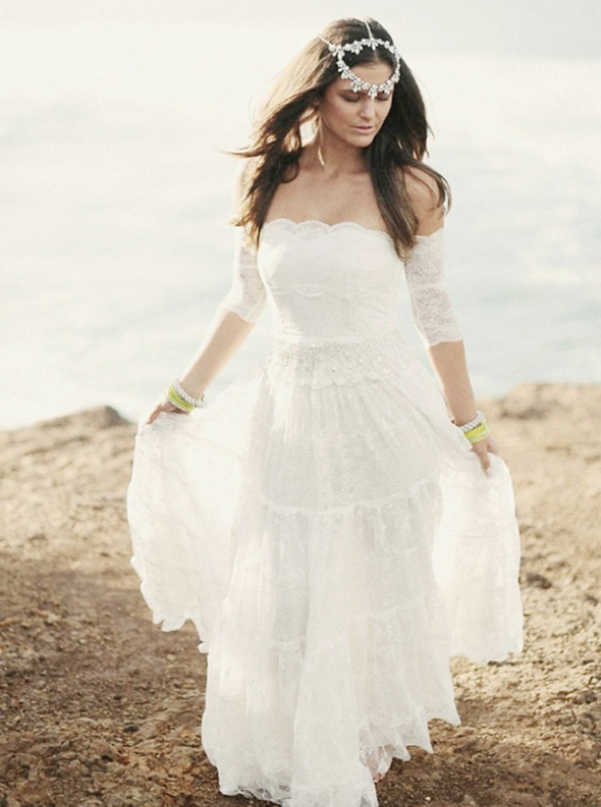 A-Line Off-the-Shoulder Lace Boho Wedding Dress with Sleeves фото