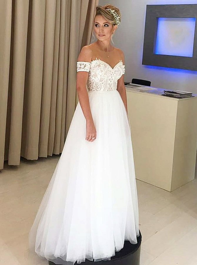 A-Line Cold Shoulder Illusion Neck Wedding Dress with Appliques, White