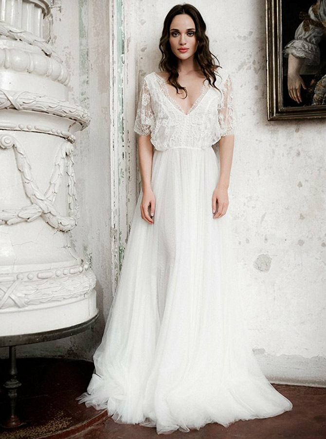 A-Line V-Neck Sweep Train Tulle Wedding Dress with Lace Sleeves, White