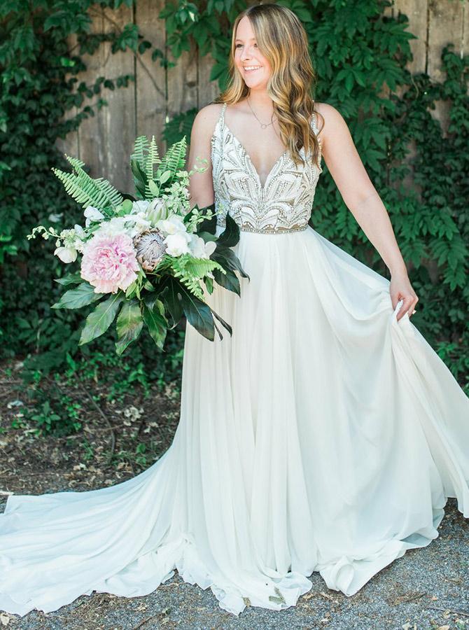 A-Line Spaghetti Straps Sweep Train Chiffon Wedding Dress with Beading, White