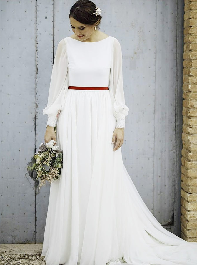A-Line Bateau Sweep Train Long Sleeves Chiffon Wedding Dress with Sash фото