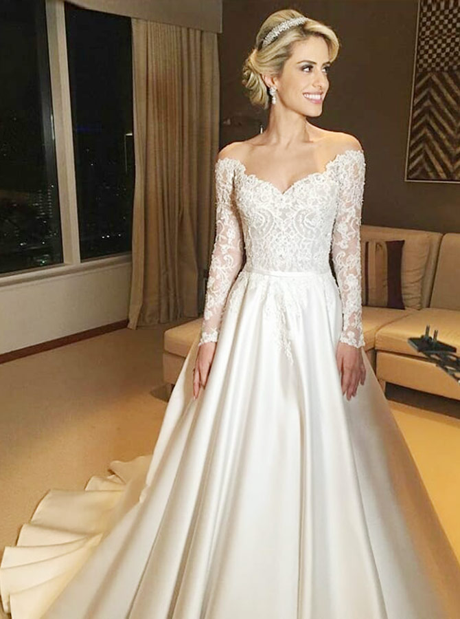 A-Line Off-the-Shoulder Long Sleeves Satin Wedding Dress with Lace, White
