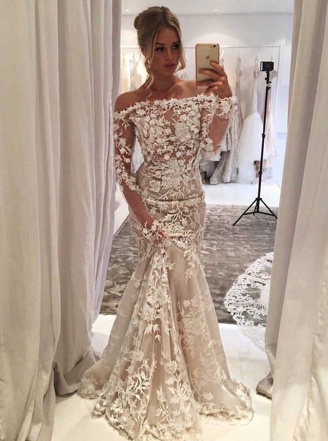 Mermaid Off Shoulder Light Champagne Tulle Appliques Wedding Dress with Sleeves