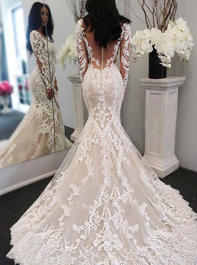 Simple-dress / Mermaid Bateau Long Sleeves Sweep Train Wedding Dress with Appliques