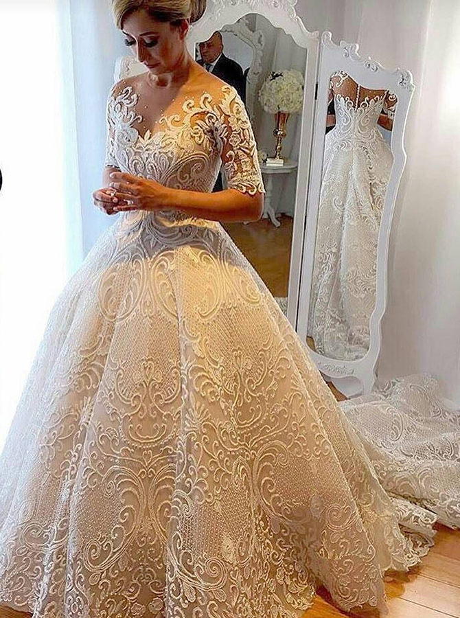 Ball Gown Jewel Court Train Half Sleeves Ivory Lace Wedding Dress with Appliques