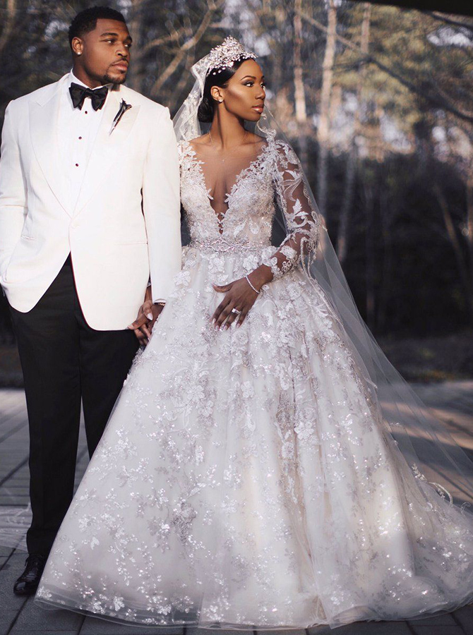 Ball Gown Deep V-Neck Court Train Long Sleeves Ivory Lace Wedding Dress with Appliques