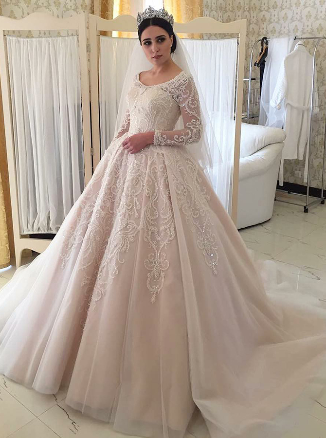 Ball Gown Round Long Sleeves Light Champagne Wedding Dress with Appliques