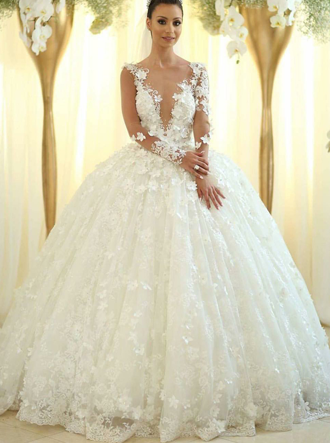 Ball Gown Deep V-Neck Long Sleeves Wedding Dress with Appliques, White