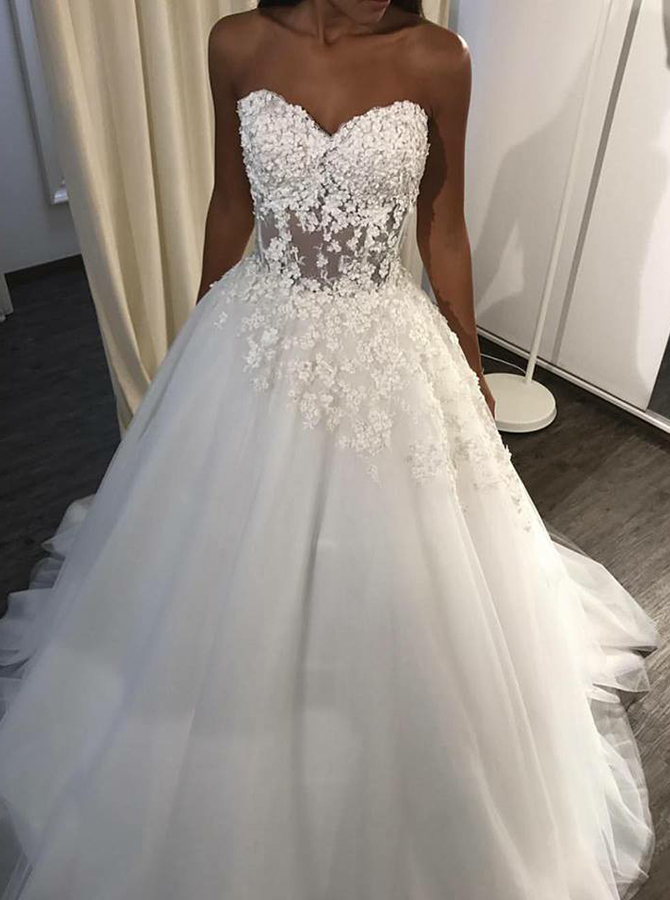 A-Line Sweetheart Sweep Train Wedding Dress with Appliques, White