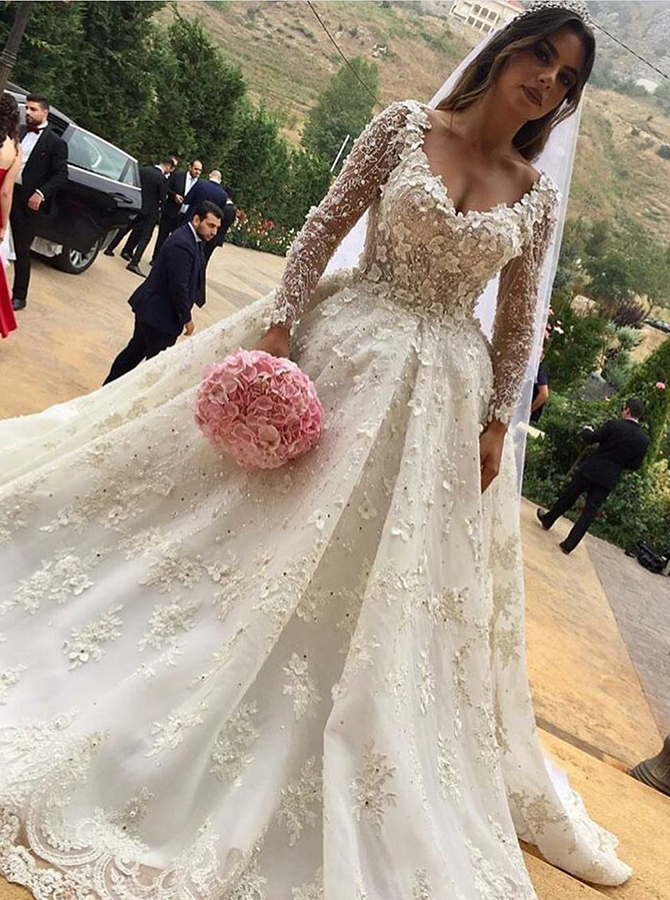 Ball Gown V-Neck Long Sleeves Court Train Wedding Dress with Appliques, White