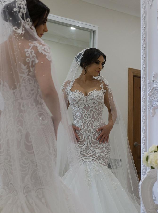 Mermaid Square Sweep Train Wedding Dress with Appliques Beading фото