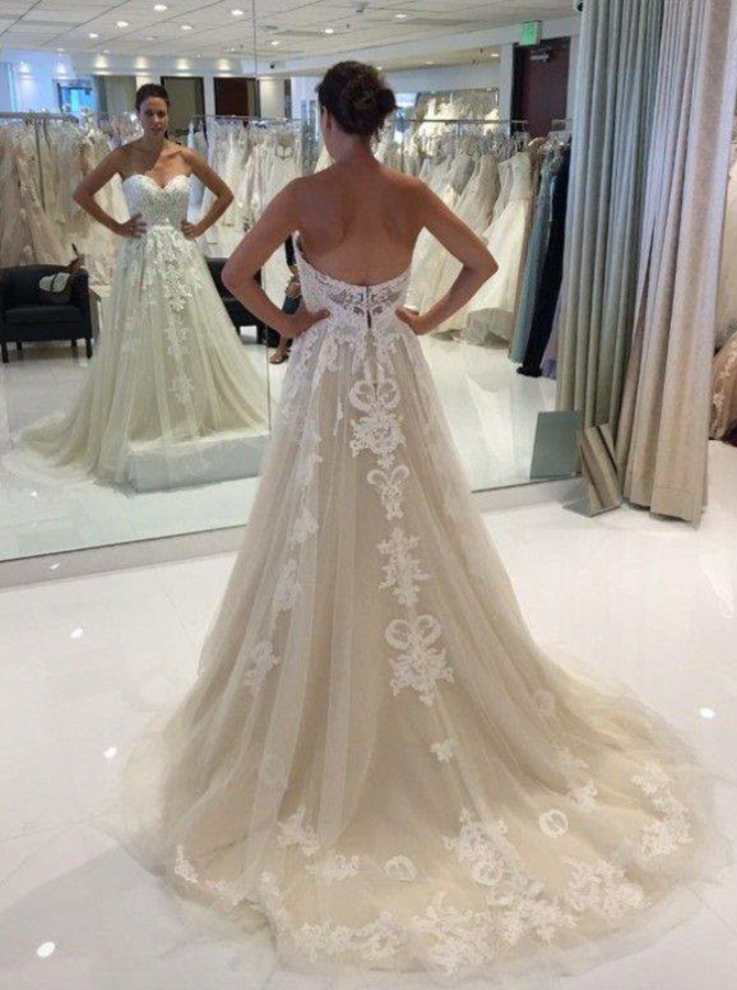 Simple-dress / A-Line Sweetheart Court Train Light Champagne Wedding Dress with Appliques