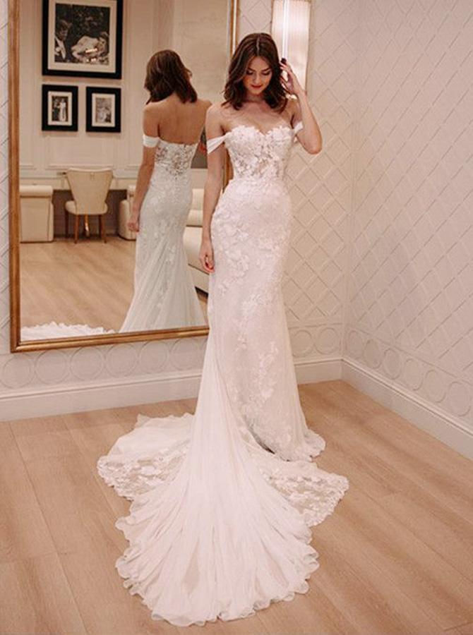 Sheath Off Shoulder Court Train Chiffon Wedding Dress with Lace Appliques фото