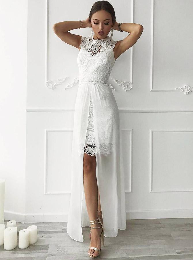 A-Line Jewel Sleeveless Lace Beach Wedding Dress with Detachable Train, White