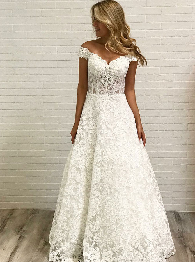A-Line Off-the-Shoulder Floor Length Lace Wedding Dress, White