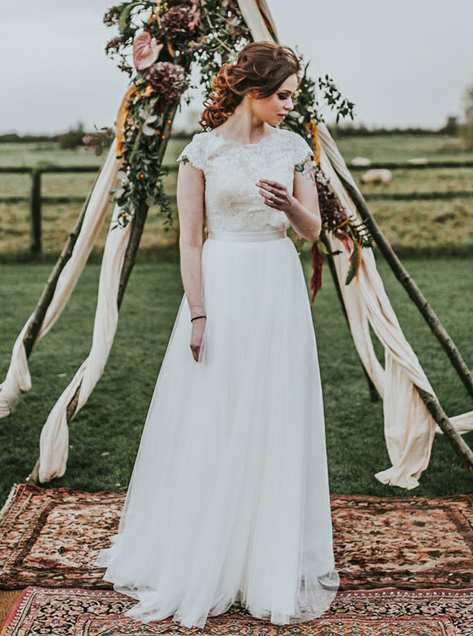 A-Line Round Neck Sweep Train Cap Sleeves Wedding Dress with Lace фото