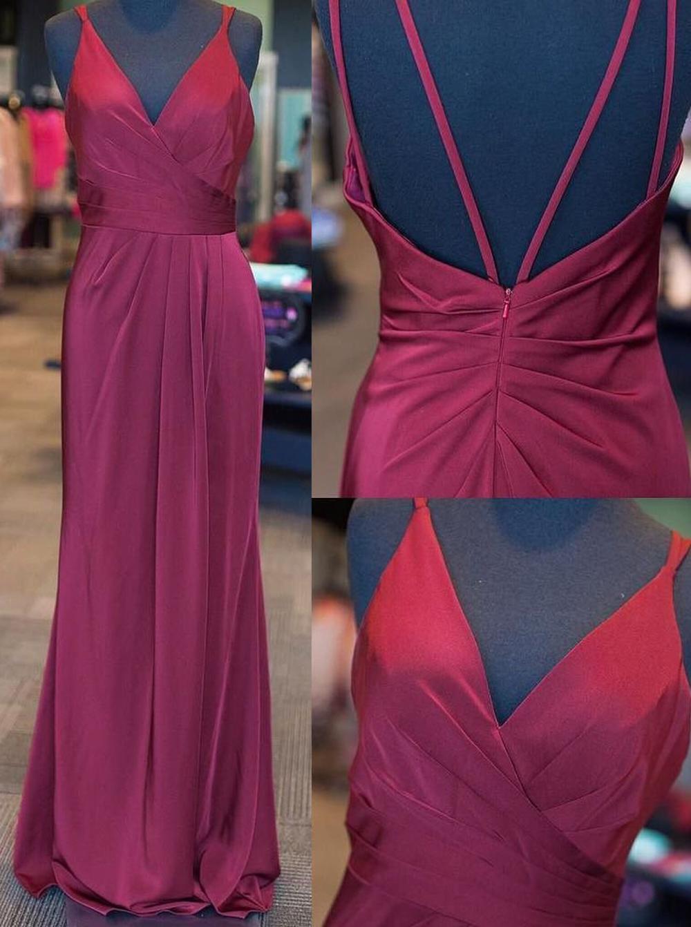 Simple-dress / Elegant V-neck Sleeveless Floor-Length Ruched Lilac Prom Dress Open Back