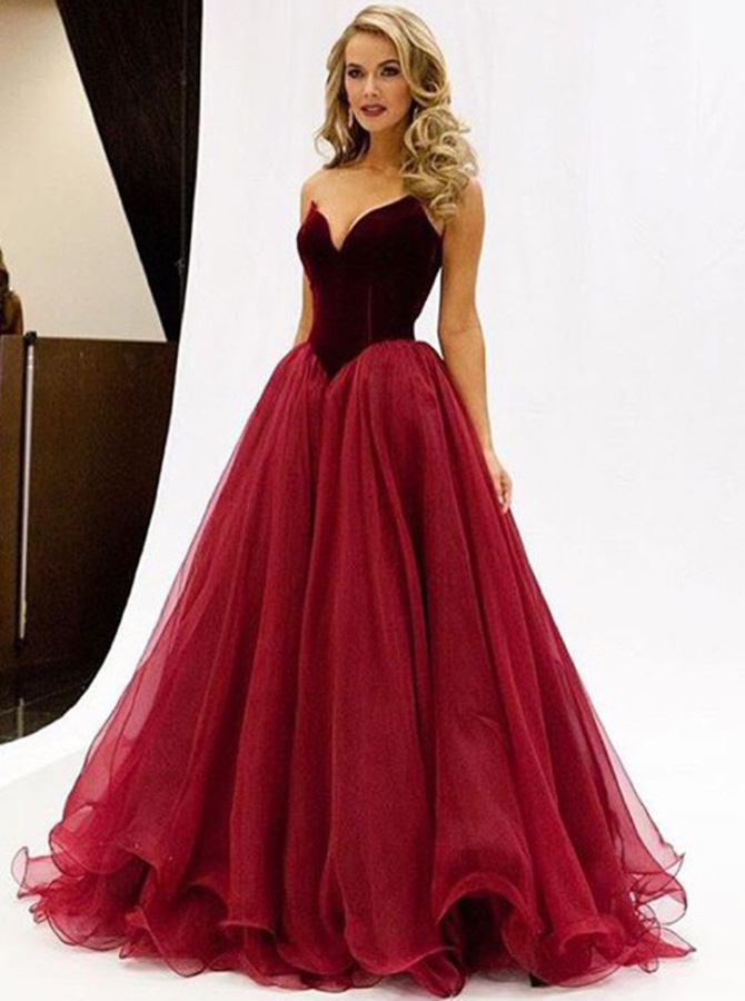 A-Line Sweetheart Floor-Length Sleeveless Prom Dress with Ruched, Wine red