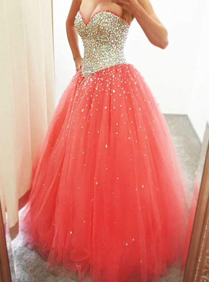 Fabulous Sweetheart Floor-Length Coral Prom Dress with Beading фото