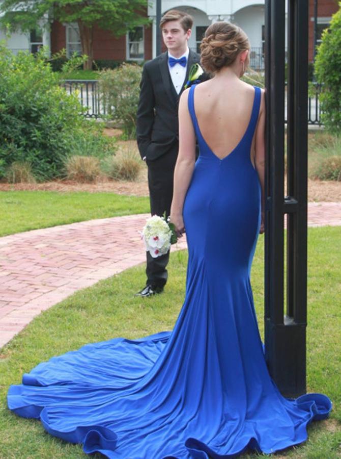 Mermaid Bateau Sleeveless Sweep Backless Train Royal Blue / Red Prom Dress фото