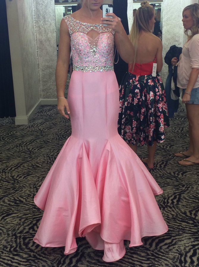 Glamorous Bateau Sleeveless Floor-Length Mermaid Pink Prom Dress Beaded with Ruffles фото