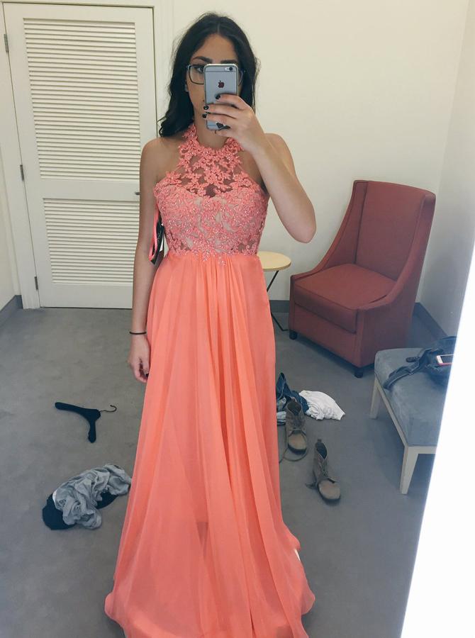 New Arrival Jewel Sleeveless Floor-Length Peach Prom Dress with Beading Lace фото