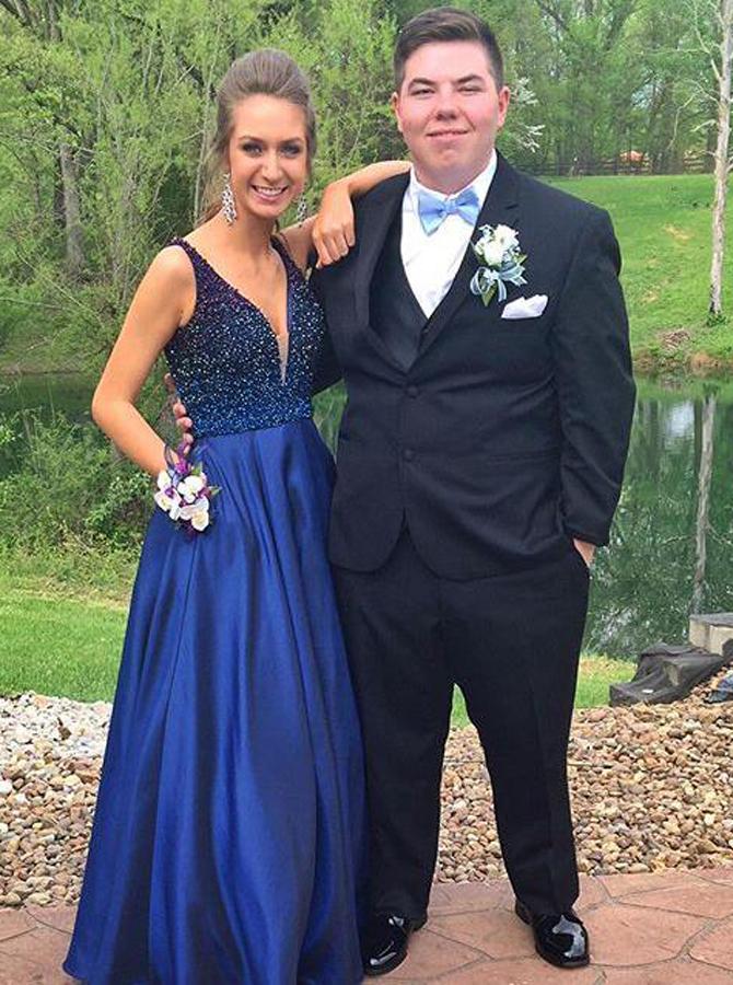 Simple-dress / A-Line V-Neck Floor-Length Royal Blue Prom Dress with Beading